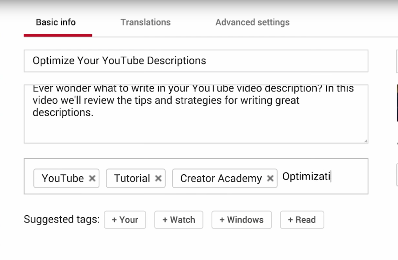 optimising tags for youtube videos