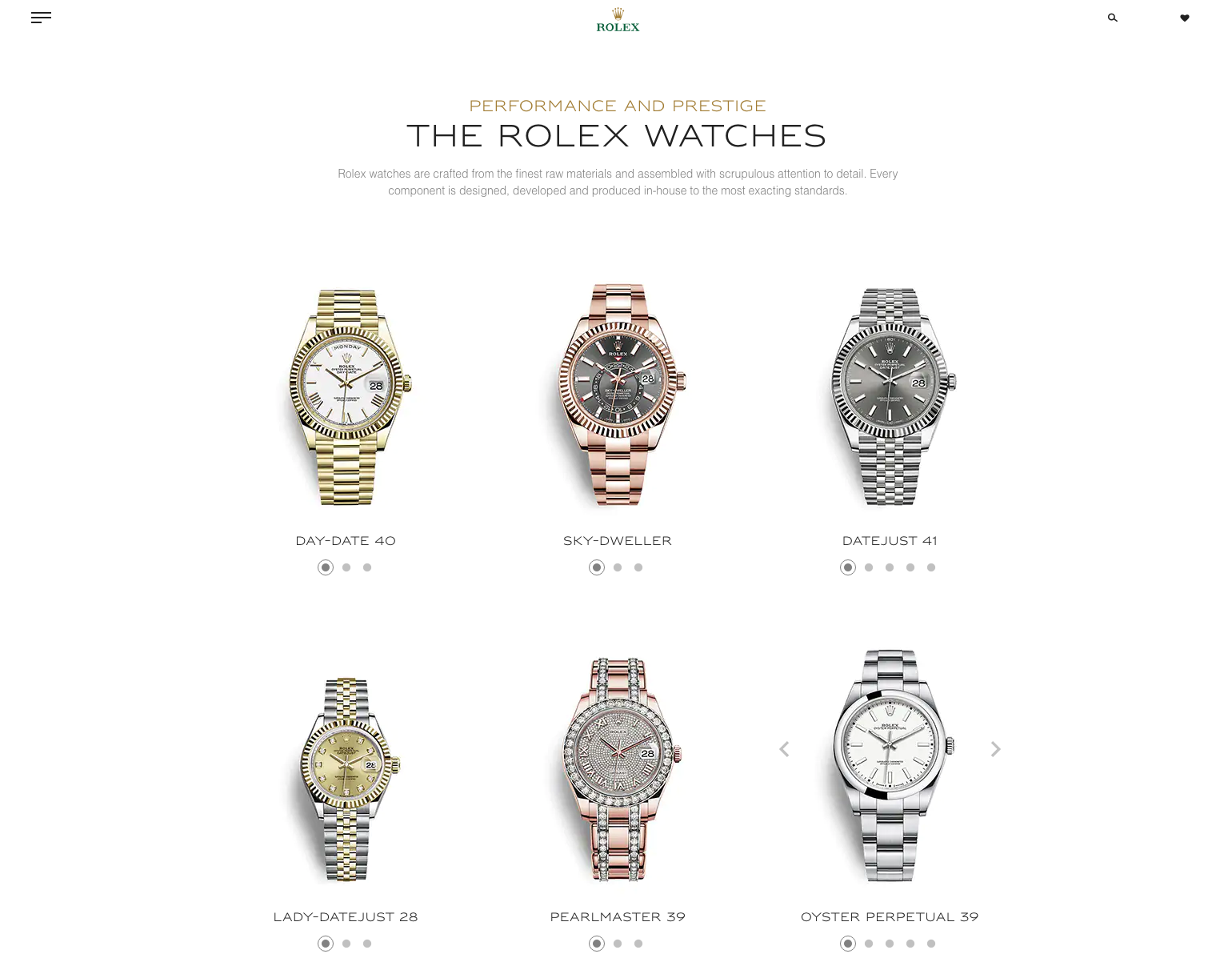 rolex website design