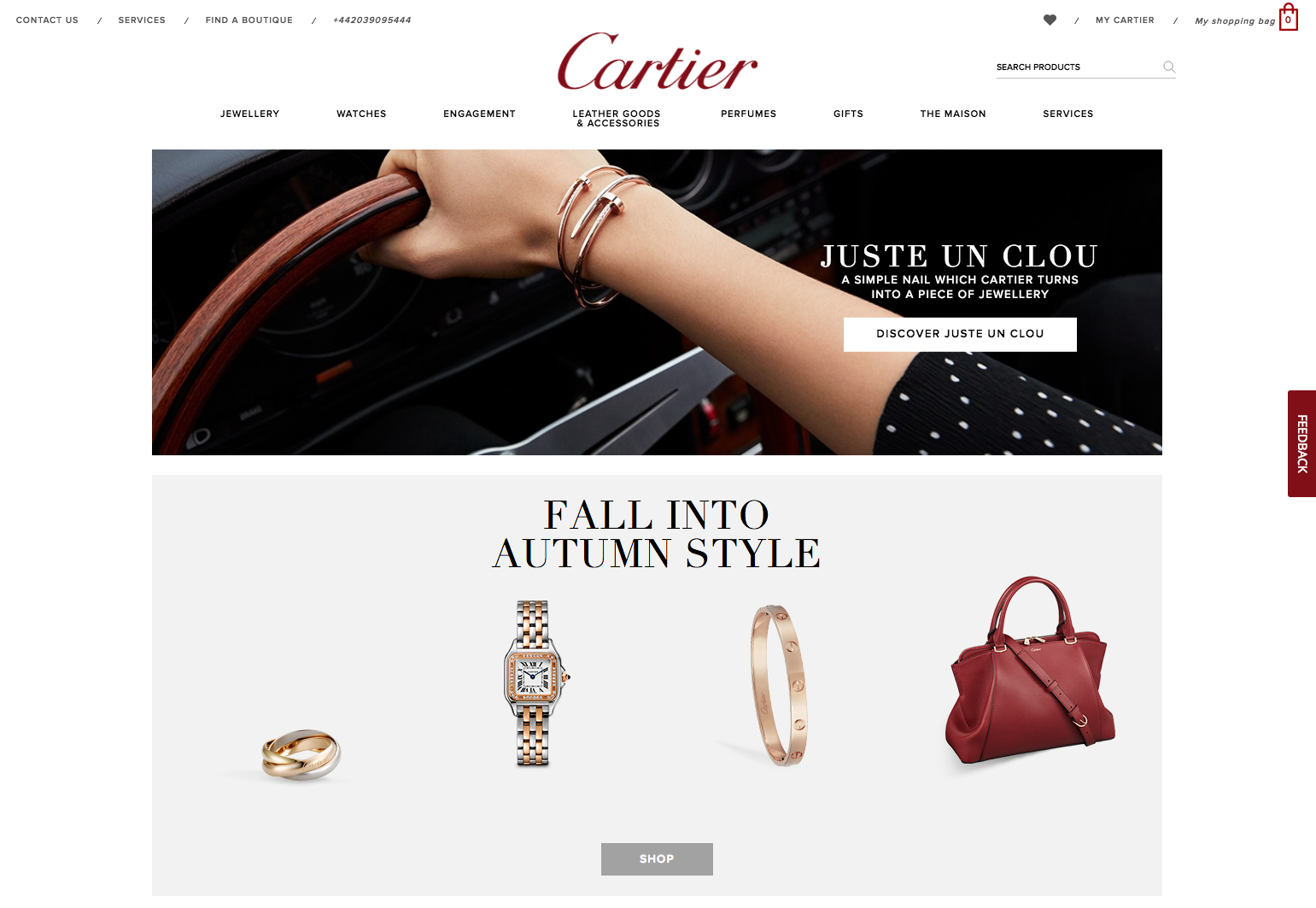 cartier luxury website design