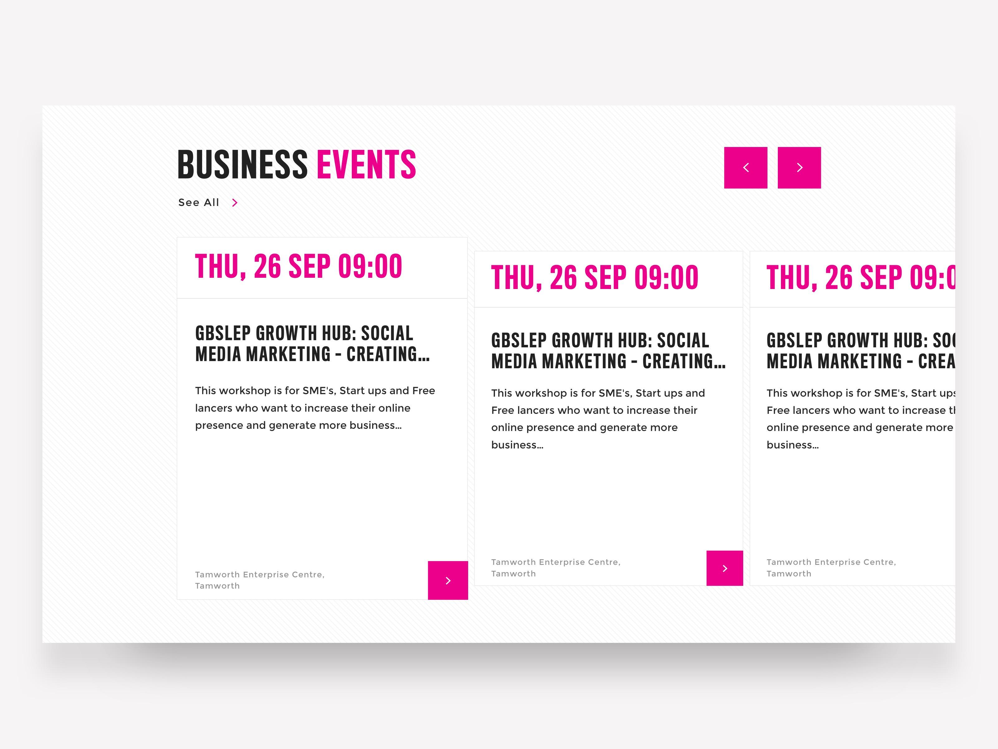 BCU Events Cards